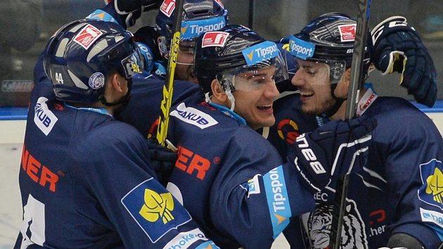 Hokejisté Liberce se radují z gólu - ilustrační foto.