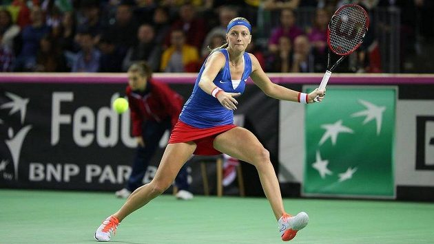 Petra Kvitová v utkání 1. kola Fed Cupu v Kluži.