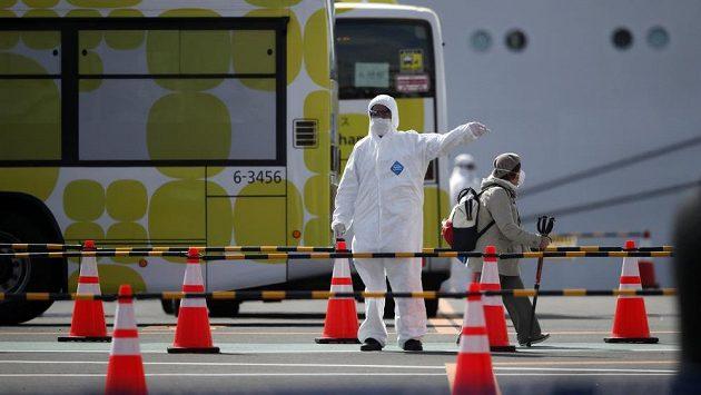 Situace u lodě Diamond Princess v Jokohamě. Ilustrační foto.