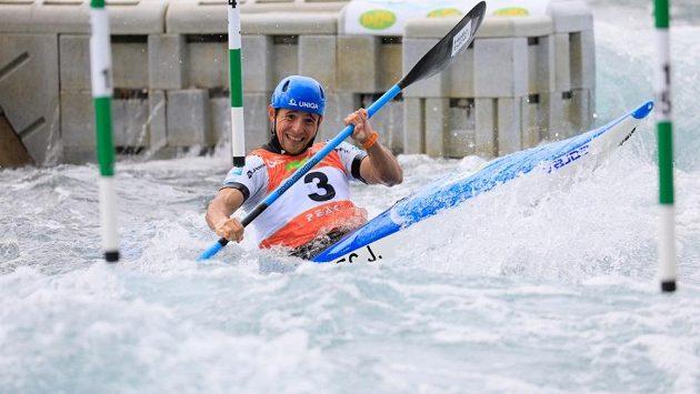 Jiří Prskavec při kvalifikaci na Světovém poháru v Londýně.