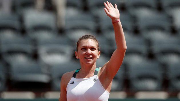 Simona Halepová po postupu do čtvrtfinále na French Open.