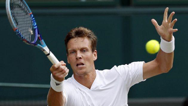 Tomáš Berdych v semifinále Wimbledonu.