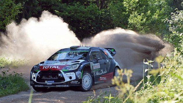 Nor Mads Östberg na trati Polské rallye.