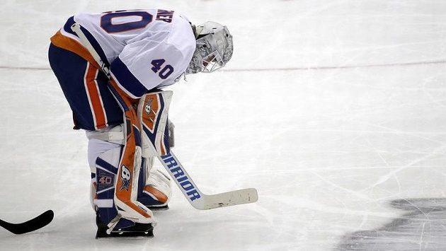 Gólma New Yorku Islanders Robin Lehner.