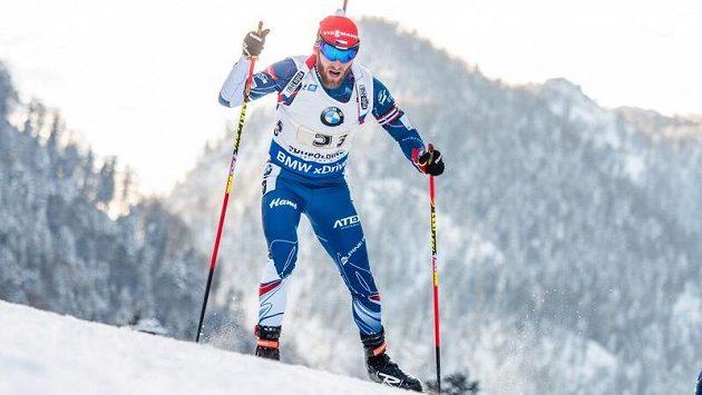 Český biatlonista Michal Šlesingr na trati.