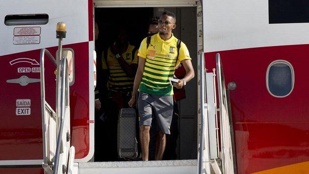 Samuel Eto'o po příletu do Brazílie.