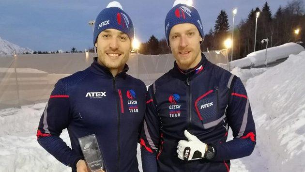Čeští bobisté Jakub Nosek (vlevo) a Dominik Dvořák.