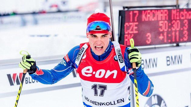 Michal Krčmář v cíli vytrvalostního závodu na MS v Holmenkollenu.