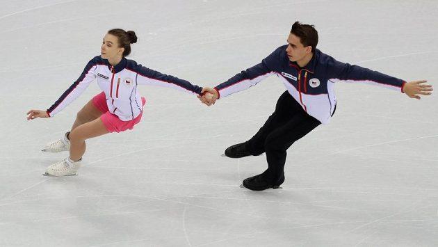 Sportovní dvojice Anna Dušková a Martin Bidař na tréninku před zahájením zimních olympijských her v jihokorejském Pchjončchangu.