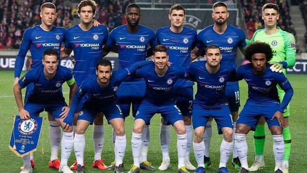 Mužstvo londýnské Chelsea během utkání čtvrtfinále Evropské ligy proti Slavii.