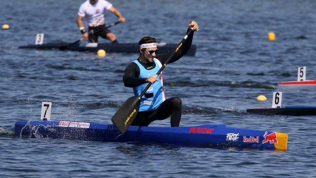 Český rychlostní kanoista Martin Fuksa na trati mistrovství Evropy v Poznani.