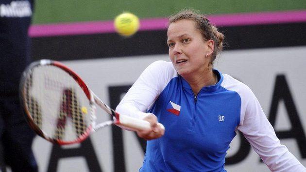 Česká tenistka Barbora Záhlavová-Strýcová během prvního kola Fed Cupu se Španělskem.