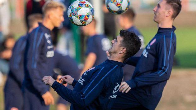 Ondřej Kúdela během tréninku reprezentace v Praze před zápasy Ligy národů se Slovenskem a Ukrajinou.