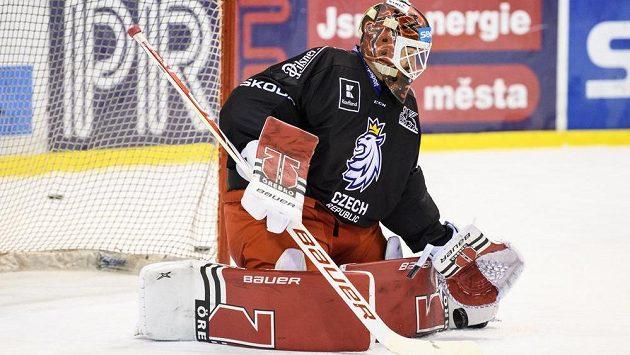 Dominik Furch během tréninku hokejové reprezentace.