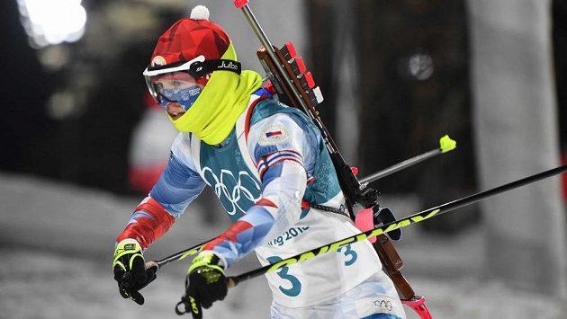 Veronika Vítková na trati stíhacího závodu.