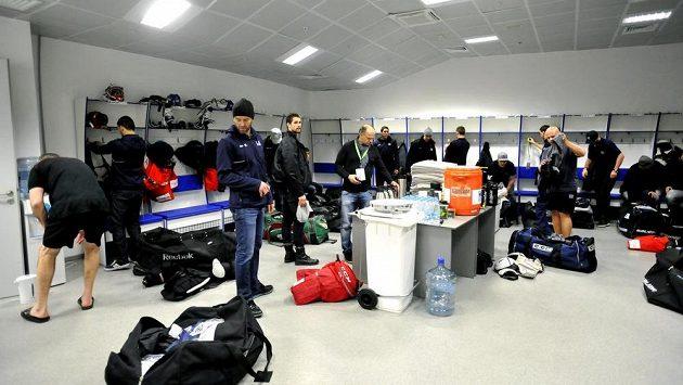 Pohled do šatny českých hokejistů v Soči. Stejnou bude mít i olympijský tým.