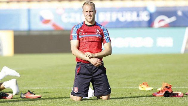 Daniel Kolář na tréninku české fotbalové reprezentace v Tours.