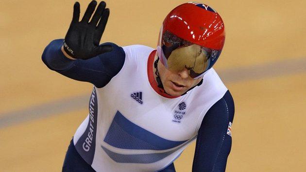 Chris Hoy během londýnské olympijské soutěže v keirinu.