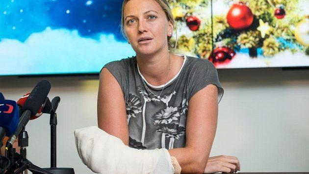 Tenistka Petra Kvitová během tiskové konference v Praze.