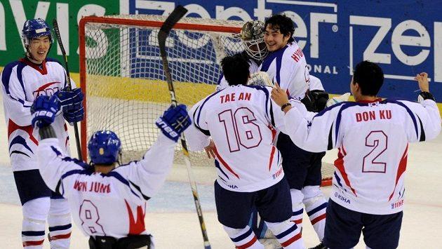 Radost korejských hokejistů.