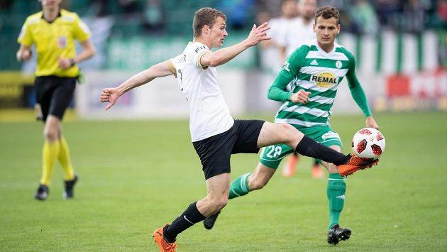 Matěj Polidar z Příbrami během utkání nadstavby Fortuna ligy ve skupině o záchranu s Bohemians.