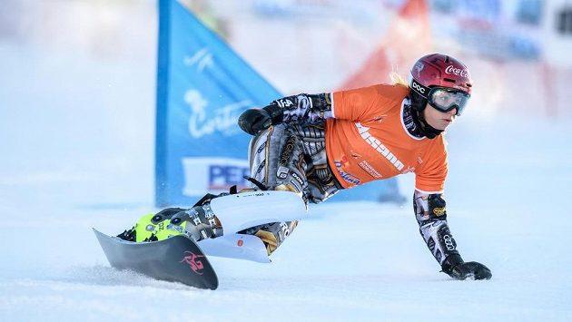 Ester Ledecká během paralelního slalomu