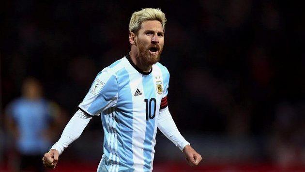 Lionel Messi při utkání kvalifikace MS Argetina - Uruguay.