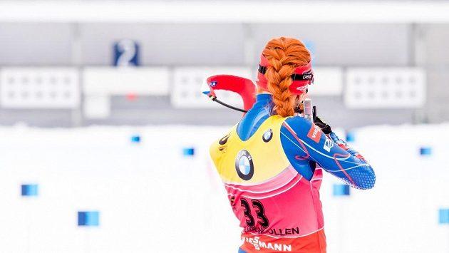 Gabriela Soukalová na střelnici na MS v Holmenkollenu.