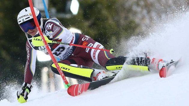Švédka Estelle Alphandová v 1. kole slalomu SP v Záhřebu.