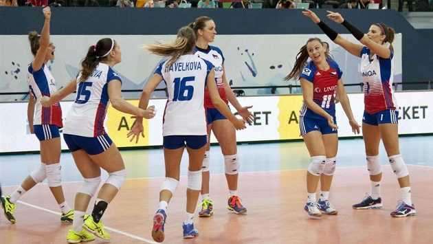 České volejbalistky v utkání evropského šampionátu proti Bělorusku (ilustrační foto)