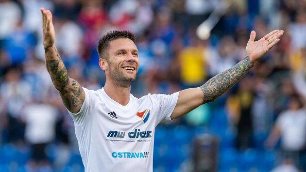 Martin Fillo z Baníku Ostrava oslavuje gól proti Českým Budějovicím.