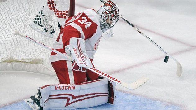 Gólman Detroitu Red Wings Petr Mrázek dostal od Chicaga v přípravě šest branek.
