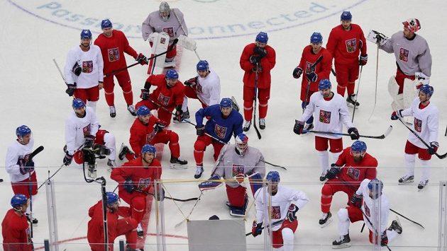 Trénink české reprezentace v ledním hokeji na olympijských hrách.