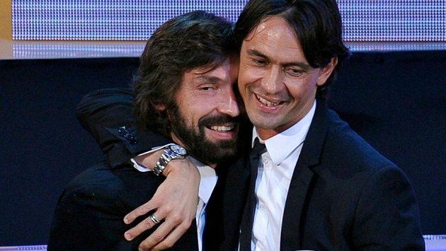 Bývalý útočník Filippo Inzaghi (na snímku vpravo s Andreou Pirlem) povede fotbalisty AC Milán.