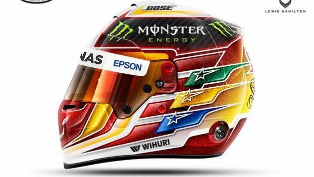 Vítězná helma pro Lewise Hamiltona.