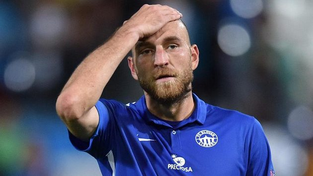 Zklamaný Martin Latka ze Slovanu Liberec po prohraném utkání.