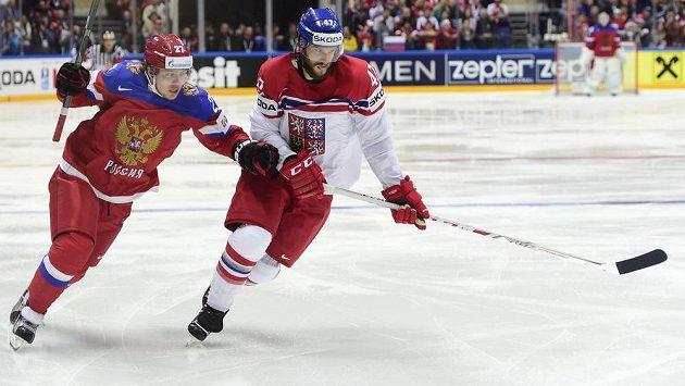 Český reprezentant Michal Jordán (vpravo) a Ivan Tělegin z Ruska.