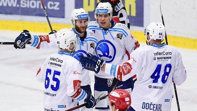 Hráči Plzně (zleva) David Kvasnička, Jan Eberle, Filip Přikryl a Martin Dočekal se radují z gólu.