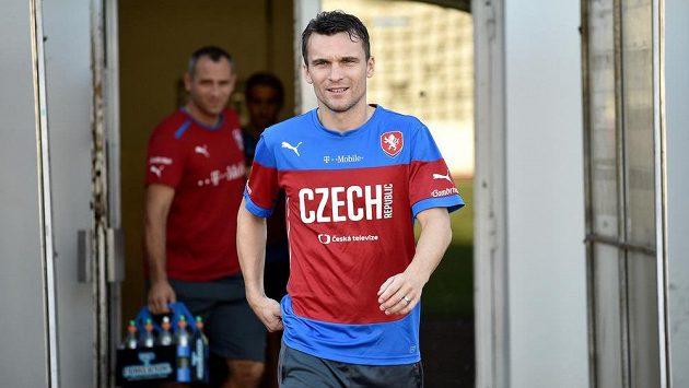 David Lafata přichází na trénink české fotbalové reprezentace.