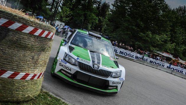 Jan Kopecký se Škodou Fabia R5 na trati Rallye Hustopeče.