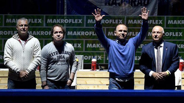 Jiří Hrdina (zleva), Petr Rosol, Jiří Lála a Pavel Richter v O2 areně.