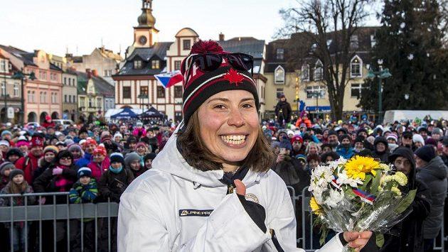 Eva Samková (na snímku) na poolympijském přivítání ve Vrchlabí,. Ilustrační snímek.