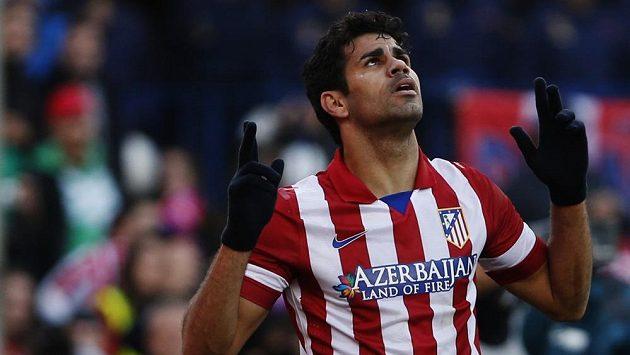 Diego Costa z Atlétika se raduje z gólu proti Bilbau.