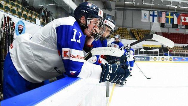 Zklamaní hokejisté Slovenska do 18 let, kteří sestoupili z elitní skupiny MS.
