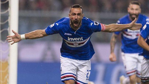 Fabio Quagliarella se raduje z gólu proti Udine.