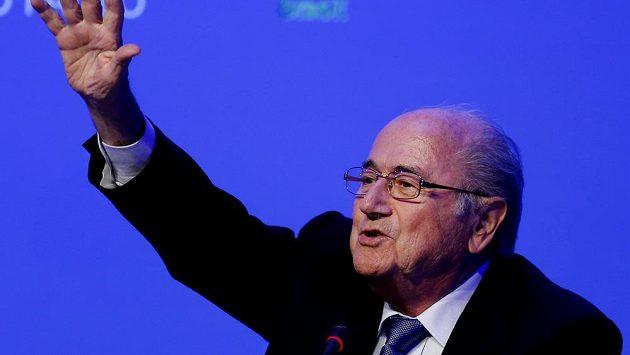 Joseph Blatter za kongresu FIFA v Brazílii.
