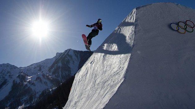 Šárka Pančochová během kvalifikace slopestylu na olympiádě.