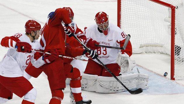 Semifinálová bitva Česka s Olympijskými sportovci Ruska o finále olympiády.