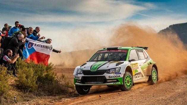 Jan Kopecký se Škodou Fabia R5 na trati Španělské rallye.