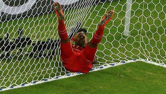 Belgický útočník Divock Origi po neproměněné šanci v zápase s USA.